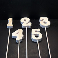 Wedding Table Numbers 1-20 Wood Style 8 on a Stick Unfinished  Stk No TN-8-.75-3-20-D