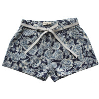 Babe & Tess Girls Indigo Floral Print Shorts - NA 3 - FINAL SALE