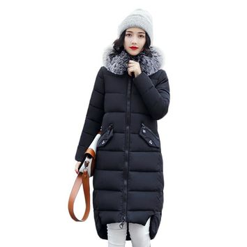 Winter feather cotton women outwear long section thick section Slim hooded coats large fur collar large size down jacket LX165