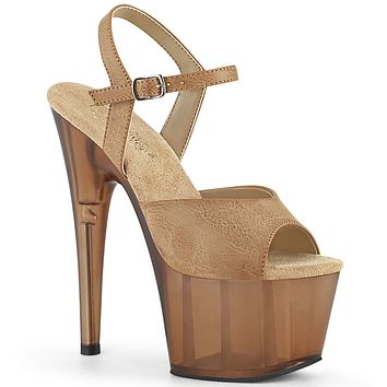 "Adore 709T Camel V-Leather Upper Frosted Platform Sandals - 7"" High Heels 5-10"