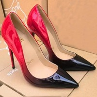 Christian Louboutin Fashion Edgy Pointed Gradient Color Heels Shoes