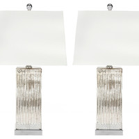 Piper Glass Table Lamp Set, Silver, Table Lamps