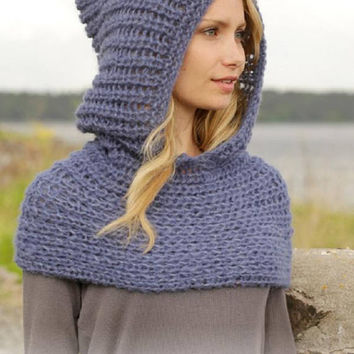 Hooded poncho capelet knitted hood scarf crop poncho blue pink blue black green purple wool alpaca silk mohair MANY COLORS Drops Lilith