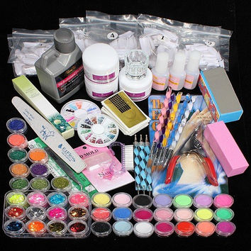 Professional 42 Colors Acrylic Powder Brush UV Lamp Glitter Clipper File Nail Art Set