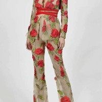 Embroidered Red Rose Jacket And Pant Set