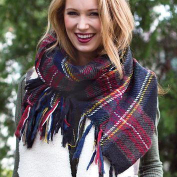Thick Stitch Plaid Scarf by FAME