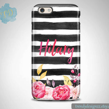 iPhone 6 case, Personalized iPhone 6s Plus case iPhone 5s case 6 plus Samsung case S6 Edge S5 S4 Black Watercolor Stripes Pink Roses(51)