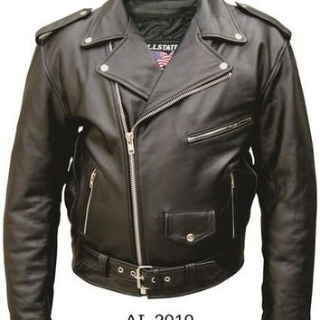 Men'S 34 Size Motorcycle Premium Buffalo Black Leather 3 front zippered Pockets Biker Jacket With Silver Hardware
