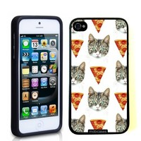 Hipster Cat Pizza - Protective Designer BLACK Case - Fits Apple iPhone 5 / 5S
