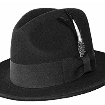 Differenttouch Men's 100% Wool Felt Soft & Crush-able Feather Fedora Hats He04 (S/M, Black)