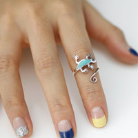 Lizard / Lacerta Adjustable Mint Bank Ring in 925 Sterling Silver