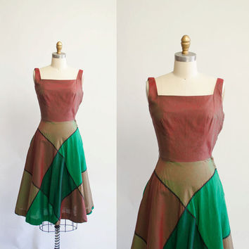 $69.00 Vintage 50s Sun Dress / 1950s Patchwork Dress by GingerRootVintage