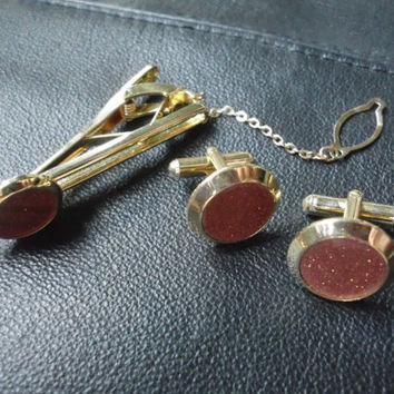 HE WANTS THIS 24K gf  Mens 3 pc set Vintage Cufflinks and Tie Clip Sand Stone Mens Gift Idea