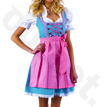 Dirndl Dress Turquoise-Pink, Ethnic 3 Piece Oktoberfest Bavarian Trachten. Austrian, German Folk Outfit - Festival Costume, Apron and Blouse