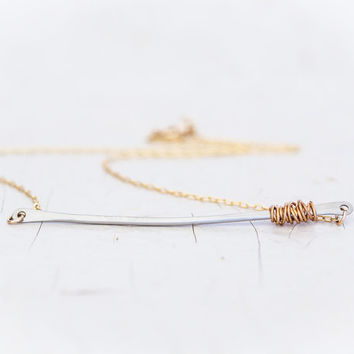 Silver Bar Necklace with Gold Wrap - Gold Chain - Simple Jewelry - Everyday Wearable - Boho Chic