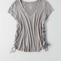 AEO Soft & Sexy Ribbed Voop T-Shirt, Stone Gray
