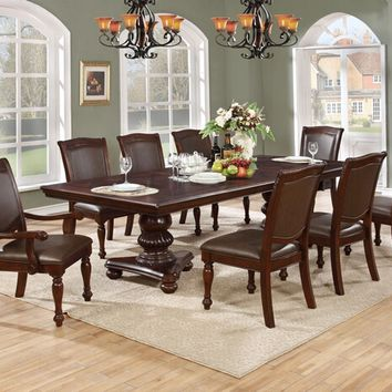 7 pc Ritz collection cherry finish wood double pedestal dining table set