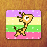 Cute Baby Giraffe Cartoon Mouse Pad Animal Polkodot Wallpaper Colorful Office Deco Desk Word Pad Personalized Pad Gift Personalized mat