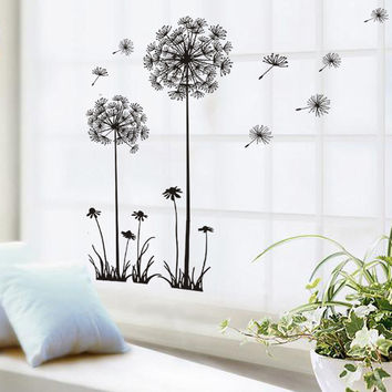 Black Beautiful Dandelion Wall Stickers Living Room Bedroom Dream Of Flying Wall Stickers Home Decor Sticker On The Wall Decals
