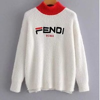 FENDI Autumn Winter New Trending Women Stylish Letter Embroidery Mohair Long Sleeve Half High Collar Sweater Top Sweatshirt White
