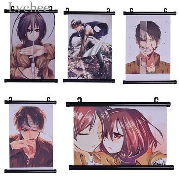 Cool Attack on Titan Lychee Anime  Poster Japanese Animation Scroll Painting Fans Collection Wall Hanging Picture Home Arts Decoration AT_90_11