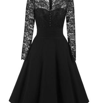 Lace Upper Long Skater Dress with Full Sleeves