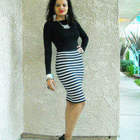 ON SALE Pencil Skirt Black and White Stripes made from Stretchy Knit Jersey petite tall plus size xs small med large xl 2x 3x 4x 5