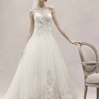 One Shoulder Tulle Ball Gown with Lace Appliques - IVORY