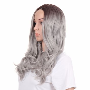 Wig European And American Gray Dyed Female Long Curly Hair In The Split Sleeve Silver Grey/26inches