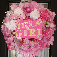 It's A Girl Welcoming Wreath, Baby Shower Decoration, New Baby Welcoming Wreath, Ready to Ship