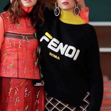 FENDI Hot Sale Fashion Women Casual Half High Collar Letter Embroidery Knit Sweater Top Black