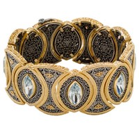 Dimitrios Exclusive 350 ~ Sterling & Gold Plated Silver with Swarovski - Medieval Byzantine Bracelet