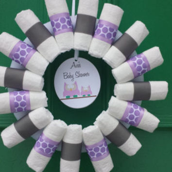 Purple and Gray Owl Diaper Wreath