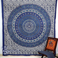 Elephant Hippie Tapestry, Blue Mandala Hippie Bedspread Throw Bohemian Wall Hanging, Boho Hobo Ethnic Wall Decor, Queen Tapestry Mandala Art