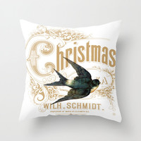 Throw Pillow Cover - Swallow Christmas Vintage Ephemera - 16x16, 18x18, 20x20 - Pillow case Original Design Home Décor by Adidit