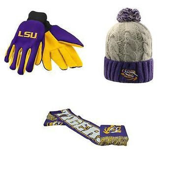 Licensed NCAA LSU Tigers Spirit Scarf Gust Beanie Hat And Grip Work Glove 3 Pack 34338 KO_19_1