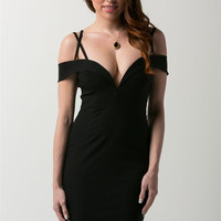 Joan Strappy Bodycon Dress - Black