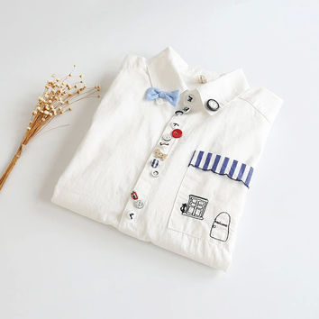 White Bow Embroidered Long-Sleeve Button Collar Shirt