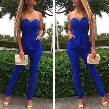 new women's Strapless Rompers Sexy Blue Pockets Slim Pants Bodysuit Sleeveless jumpsuits plus size S-XXL = 1958171588