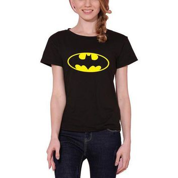 PEAPGC3 New Women T shirt Batman Print Funny Casual Tops Basic Bottoming Short Sleeve Loose Shirt For Lady Tops Tees S-XXL