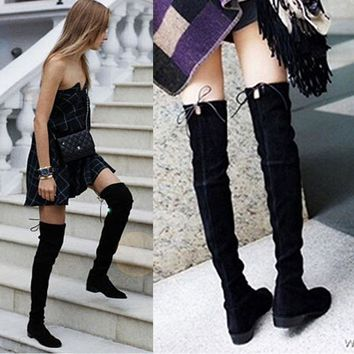 2017 Faux Suede Sexy Over The Knee Boots Winter Thigh High Boots Shoes Woman Lace Up Z