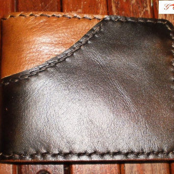 Handmade brown 2 tone leather man's wallet by brand by G2Pleather