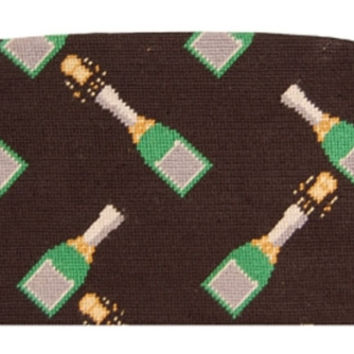 Champagne Pops Needlepoint Cummerbund in Black by Smathers and Branson