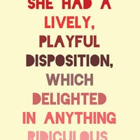 Pride and Prejudice Print Jane Austen Quote by LitPrints on Etsy
