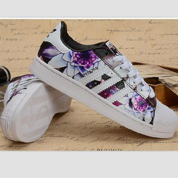 Tagre™ Adidas Fashion Shell-toe Flats Sneakers Sport Shoes Print Purple floral
