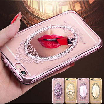 Luxury Mirror Silicone Cases For iPhone 5 5S SE / 6 6S 4.7 / Plus 5.5 Rhinestone Phone Cover Coque For i Phone 6 S Plus Capinha