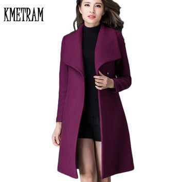 2017 Fashion European Style Slim Cardigan Overcoat New Medium Long Slim Autumn Winter Womens Wool Coat Casaco Feminino WUJ0457