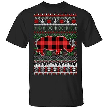 Rhino Red Plaid Ugly Christmas Sweater Funny Gifts