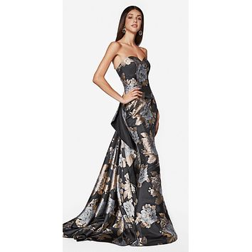 Pasodoble Fitted Fit And Flare Dress Brocade Strapless Layered Train