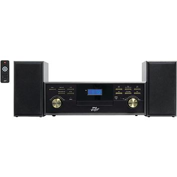 Pyle Home(R) PPTCM80BTGR Classic-Style Bluetooth(R) Turntable Speaker System with Cassette Deck, CD Player & Vinyl-to-MP3 Recording